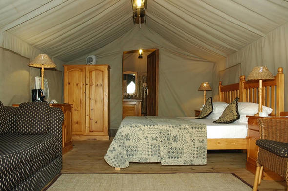 Comfortable Executive Safari Tent at Bakgatla Resort.