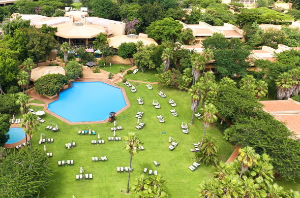 Aerial view of the Cabanas Family-friendly Hotel in Sun City.