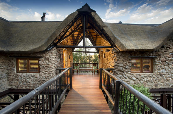 Entrance to Tshukudu Bush Lodge in Pilanesberg National Park.