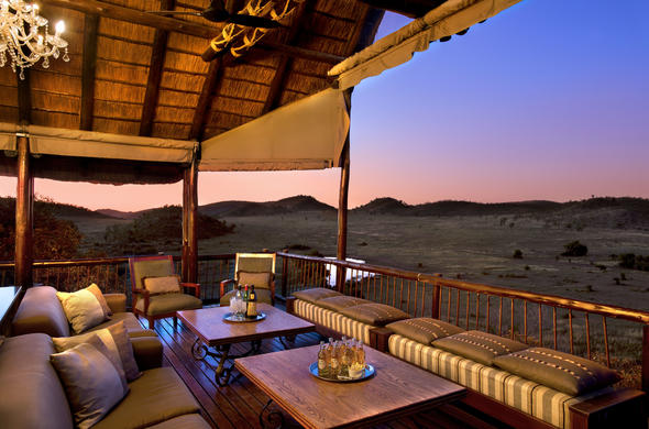 Tshukudu Bush Lodge at sunset.